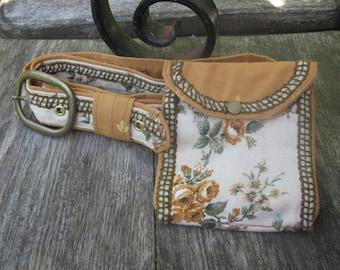 Cream and beige belt, hip pouch, utility belt, purse, belt bag, wallet, brass buckle, bum bag, upholstery belt