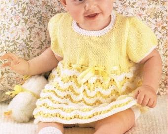 baby dress vintage knitting pattern PDF instant download