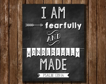 Psalm 139:14 I am Fearfully and Wonderfully Made Chalkboard Printable