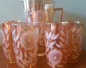 Vintage Orange Carnival Glass Serving Set, Pitcher and 6 glasses with Etched/Frosted Floral design