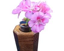 Wood Bud Vase   Hexagon Flower Vase   Oak Home Accessories   Flower Holder   Natural Home Decor
