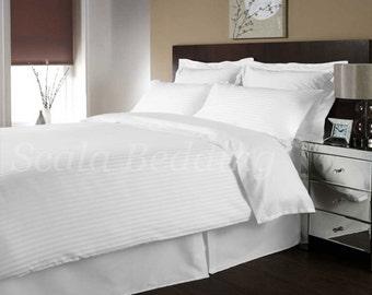 100% Egyptian Cotton Bedding White Stripe Full/Queen Size Duvet Cover Set