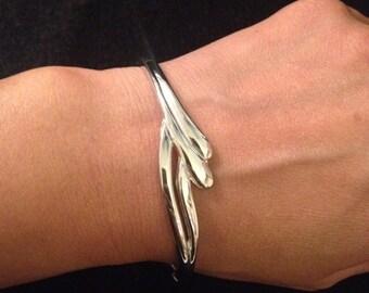 Vintage Silver Plated Hinged Bracelet