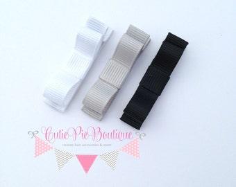 Monochromatic bow hair clips. White, grey & black hair clips. Girls hair clip - no slip grip. Cutie Pie Boutique