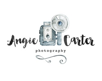 Photography logo, premade logo design, watercolor logo, watermark n5