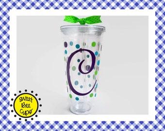 Monogrammed Acrylic Cup, Monogram Acrylic Tumbler, Monogram Cup, Monogrammed Cup, Polka Dot Cup, Polka Dot Tumbler, BPA FREE, Sweet Bee Cups
