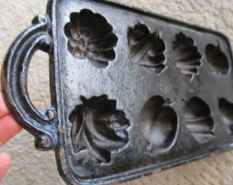 Fruit and Vegatables Cast Iron Muffin Pan Made in the U.S.A