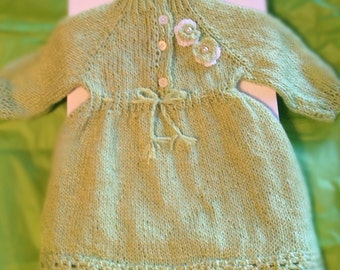 Custom Knitted Organic Baby Girl Dress with Pearl Flowers and Lace Trim