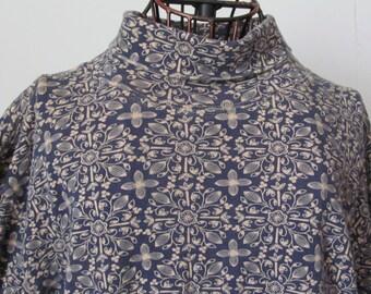 Blue Turtleneck Blouse Women sz XL 90s Clothing 90s Shirts Womens Turtleneck Shirt sz XL