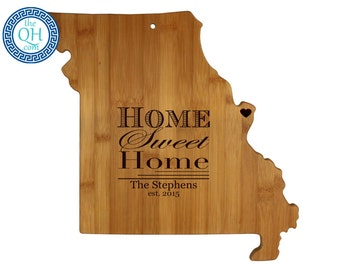 Missouri Personalized Cutting Board | Home Sweet Home | Custom Housewarming or Unique Wedding Gift