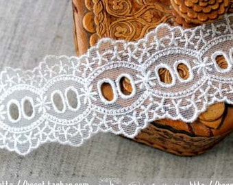 "2 Yards Lace Trim White Hollow Wearing Ribbons Lace Wedding 1.57"" whidth"