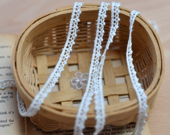 """6 Yards Lace Trim Cotton Trim Ivory Embroidery  0.31"""" width"""