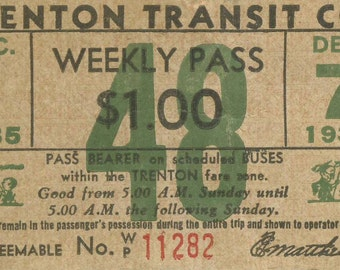 1935 Trenton Transit Co - New Jersey Bus Line - Weekly Pass (48)