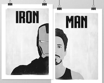 IRON MAN Poster Set, Avengers Minimalist Posters, Black and White Large Wall Art, College Student Gift Dorm Decor, Gift for Him, Art Print