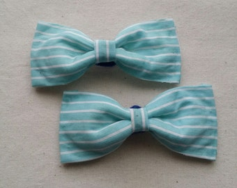 Blue striped bow hair accessories, clips, barettes