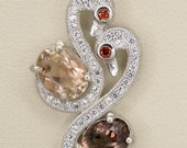 Red and Pink Sunstone Sterling Silver Two Swan Pendant 2.4ct (S2443P)