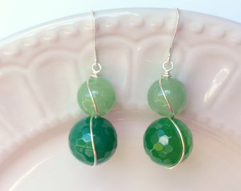 Green Agate and Aventurine Earrings, Green Earrings, Gemstone earrings, Silver earrings