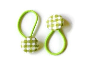 green plaid fabric hair buttons with a neon green hair tie