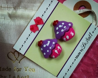 Kids Earrings (Clip-Ons) - Cupcakes: choose your color