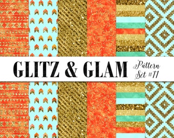 Teal and Gold Digital Paper / Bohemian Digital Paper / Modern Digital Background / Aztec Paper / Orange and Turquoise Digital Tribal Paper