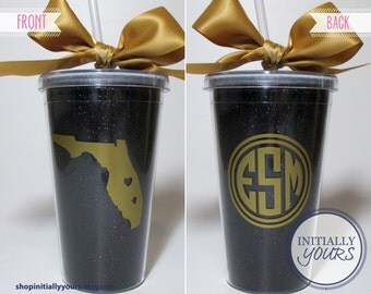 UCF Knights Personalized Tumbler, Monogram State Glitter Gameday Tailgate Cup, UCF Tumbler, College Tumbler, Black & Gold Cup