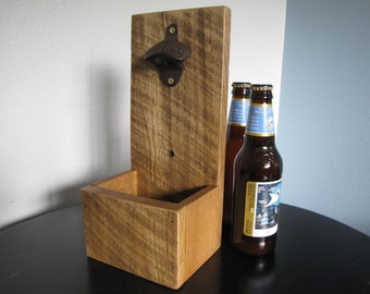 Wall Mouted Beer Bottle Opener - Made out of Reclaimed Oak - Perfect Groomsmen Gift