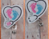 Labor & delivery, NICU, or pediatric nurse badge reel -- stethoscope and pink and blue feet -- can be made with or without RN