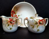 Antique Nippon set, Creamer, Sugar bowl and small bowl. Lots of gold gilt, hand painted. Beautiful rich colors, Very elegant