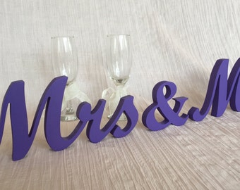 Purple Wedding signs Mr & Mrs glitter signs Wedding table decoration sweetheart table Mr and Mrs wedding signs purple