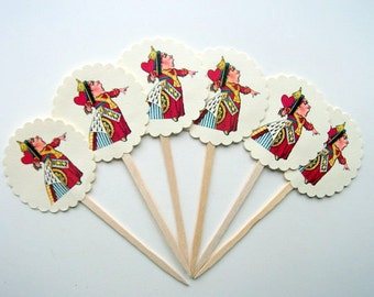 Queen of Hearts, Cupcake Toppers, Alice in Wonderland, Valentines, Tea Party, Birthday Party, Cupcake Picks, Set of 6 or 12