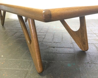 Pearsall Mid Century Modern Large Sculptural Coffee Table Solid Walnut