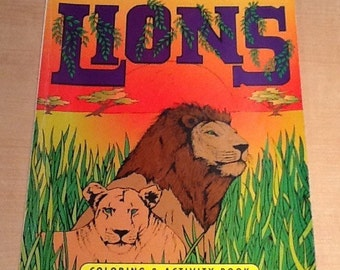 """Vintage 1995 """"The World of Lions"""" Coloring & Activity Book by Jack Rubottom and Paradise Press. None of the pages have been colored so it is"""