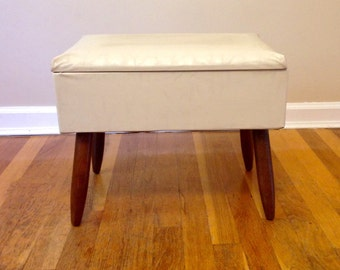 Mid Century Foot Stool With Storage
