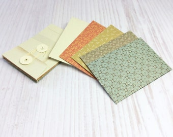 10 Mini Envelopes, Coin Envelopes, String Tie, Gift Cards and Invitations, Stationary