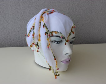 White Beaded Scarves, Cotton Scarf, Boho Scarf, White Triangle Scarf, Gypsy, Cotton Gauze Triangle Scarf, Bandana, HeadBands, Oya Hair Scarf