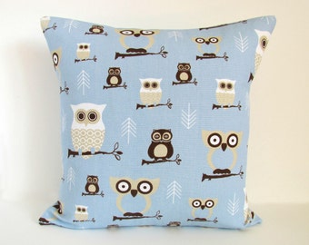"Hoot Owl in Mist Blue,16x16"" pillow cover"