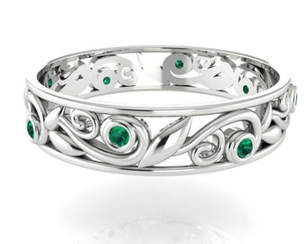 vine and leaf wedding band engagement bands bridal ring handmade matching band - Emerald Wedding Ring