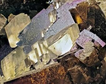 Wonderfully Iridescent Brown and White Rhombehedral Calcite Crystals In Half Keokuk Geode
