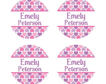 "100ct Waterproof Name Labels - Baby Bottle Labels - Kids Name Tag Labels, Hearts 1"" Round"