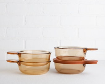 Vintage Four Corning Vision Amber Glass Grab It Bowls with One Heat n Eat Lid, Handled Glass Bowls