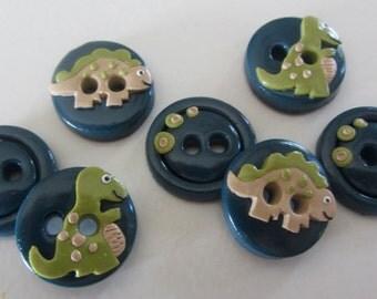 Navy Dinosaur Buttons ~ Set of 7