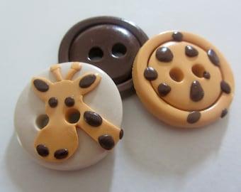 Giraffe Button Set ~ Set of 3
