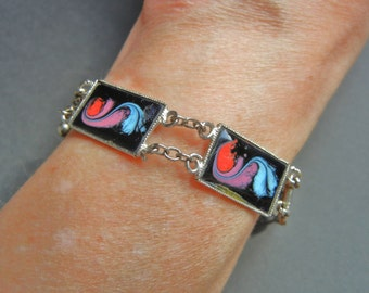 Vintage Metal-Arte Sulmona bracelet, vintage enamel bracelet, Sulmona enamel bracelet, vintage Sulmona bracelet, Sulmona bracelet