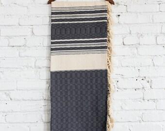 Cassill Gray Woven Throw Blanket. Mexico. Artisans.