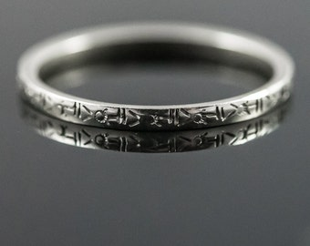 Delicate 18K Belais Wedding Ring.  Antique Art Deco White Gold Wedding Band.  Ring Size 7.