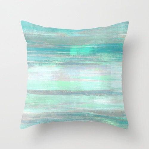 Modern Green Pillow Cover : Throw Pillow Cover Teal Mint Aqua Green Grey Modern Home Decor