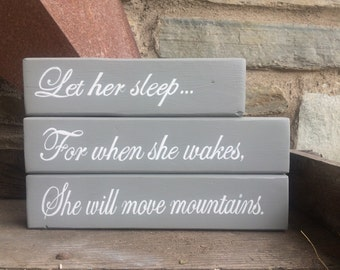 Let Her Sleep | Hand Painted | Stacking blocks | Nursery | Gray | Rustic decor | Farmhouse Nursey | Shabby chic nursery