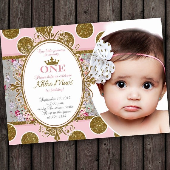 Pink And Gold Princess 1st Birthday Party Fresh Pink And: First Birthday Invitation Pink And Gold Gray By
