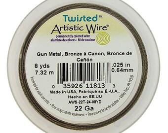 Artistic Wire Twisted Gun Metal Color 22ga - 8 Yard Spool  (WR52922)