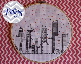 Hello Vancouver Cross Stitch Pattern. Confetti City Skyline. Cityscape. Digital PDF Pattern. Blackwork. Housewarming. Canucks.